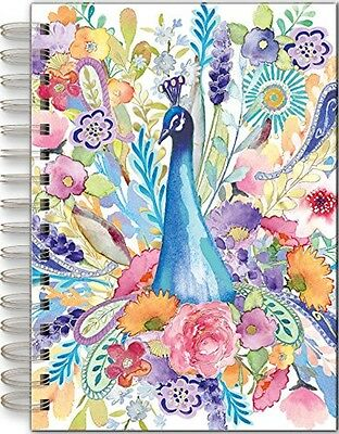 Punch Studio E7 Stationary Spiral Bound Lined Journal – Peacock Floral 44306