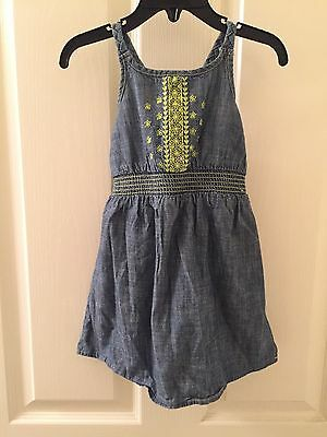 baby Gap Girls Chambray Denim Dress Neon Green Floral Embroidery, Size 2T