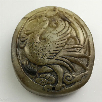 Old Chinese Hand carved jade pendant decoration collection gift   992