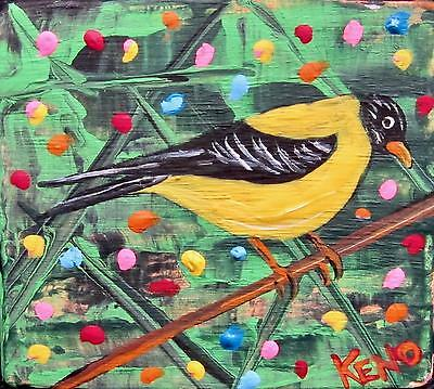 "GOLDFiNCH-BiRD-Mini 3""x3""wood painting Abstract KENO FOLK ART~COASTWALKER~USA"