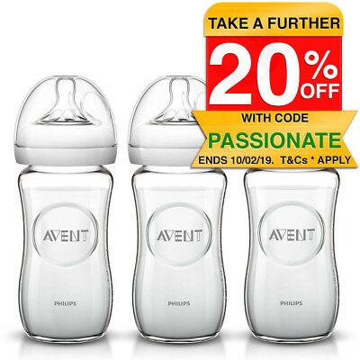 3PK Philips Avent 240ml Natural Glass Baby Bottle 1m+ 12m/Slow flow/Anti-colic