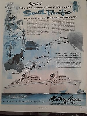 Vintage Laminated Advertisement for Matson Lines Cruises - 1956 - Unique!(591)