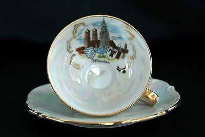 Vintage TK Munchen Bavaria White Lusterware Small / DemiTasse Tea Cup and Saucer