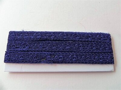New Card of Silky embroidered Lace - Navy 2cm
