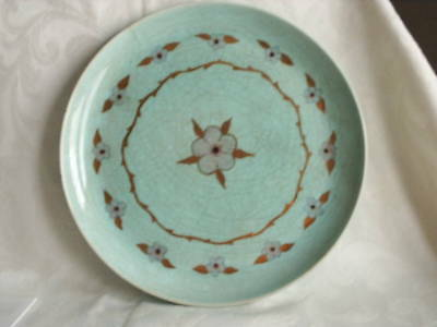 "1940's Edith Cockcroft Signed 10 1/4"" Plate Aqua With Gold Accents  Rare"