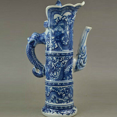 Chinese Blue and white porcelain teapot w Qing Dynasty Qianlong Mark