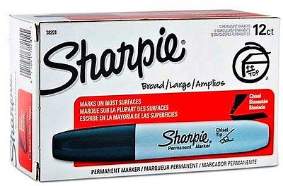Sharpie Permanent Markers Black Wide, Chisel Tip Lof of 12 - New in Box5