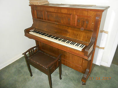 F Clemens Berlin  Antique Upright Piano  Old But Exc Woodwork