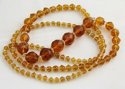 """30"""" ANTIQUE Jewelry 20s/30s ART DECO AMBER GLASS CRYSTAL Bead FLAPPER NECKLACE"""