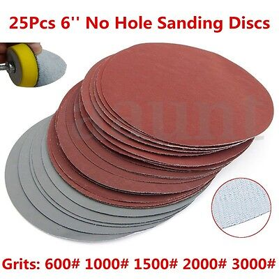25Pcs Grit 6 Inch Roll Lock Sanding Discs Pad Hook Loop 600#1000#1500#2000#3000#
