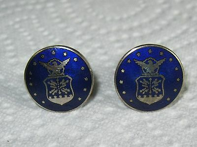Vintage Enamel Cufflinks with Navy Emblem Blue and Silver