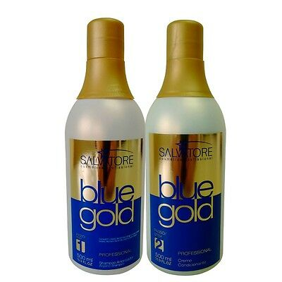 Salvatore Blue Gold Brazilian Keratin 2X500 Ml Hair Straightening Treatment.