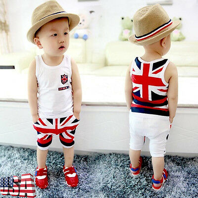 Toddler Kids Child Baby Boy Tops+ UK Flag Fifth Shorts Pants Outfits Clothes Set