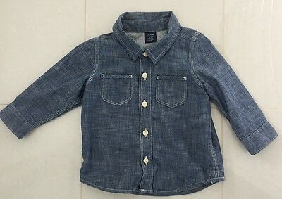NEW 12-18M Blue Denim Lined GAP Boys Shirt $54.95 Top Baby Toddler Boy Country