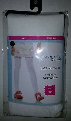 GIRLS Fashion White stockings tights pantyhose size 4 6 Small S▪Footed▪NEW▪