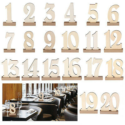 Wedding Supplies 1 to 20 Wooden Table Numbers & Holder Base Catering Reception