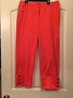 WOMENS RUBY ROAD CAPRIS PANTS SIZE 10 STRETCH WAIST  RUBY RD (Coral)