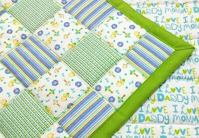 HANDMADE, BLUE/GREEN SQUARES, 35X43in BOYS, BABY/TODDLER FLANNEL QUILTED BLANKET
