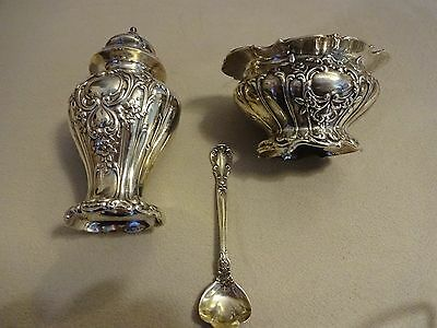 Gorham Chantilly Grand Sterling Silver 3-PC Shaker, Open Salt & Spoon NO MONO!!