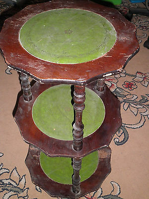 3 tier Leather/ wood antique stand