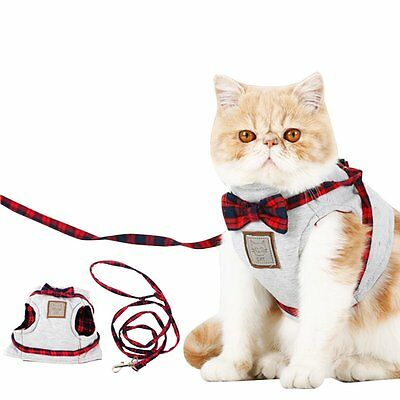 Cat Traction Suspender Rope Harness Leash Kitty Pet Adjustable Vest Cloth Gray