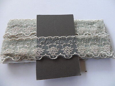 New Card of Silky embroidered Lace - Olive & Cream 4cm