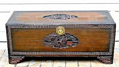 """Antique Chinese Rosewood Carved,Camphor Interior Trunk""""J.l.george Prop.shanghai"""""""