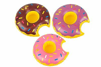 Inflatable Donut Floating Drink Can Cup Holder Bath Beach Pool Party Doughnut