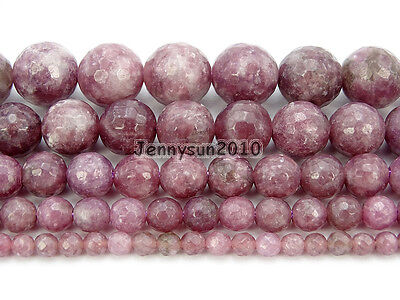 """Natural Lepidolite Gemstones Faceted Round Spacer Beads15"""" 4mm 6mm 8mm 10mm 12mm"""