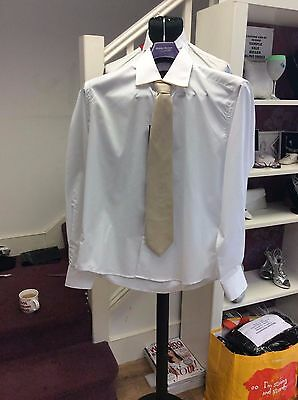 Brand New White Shirt With Gold Edging And Matching Tie By Robelli