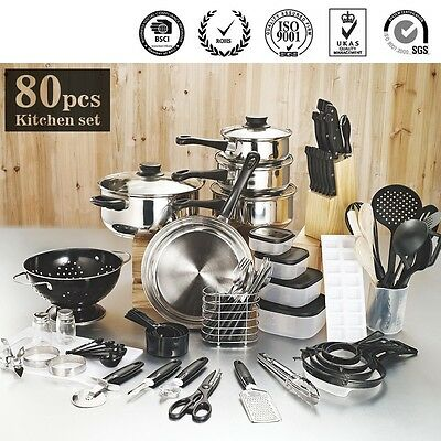 NEW Cookware Cooking Pots And Pans Set 80 Piece Kitchen Starter Combo Utensil