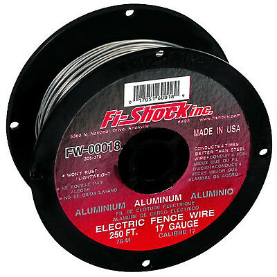 Electric Fence Wire 250' Aluminum Spool Roll Fi Shock Metallic 17-Gauge Sturdy