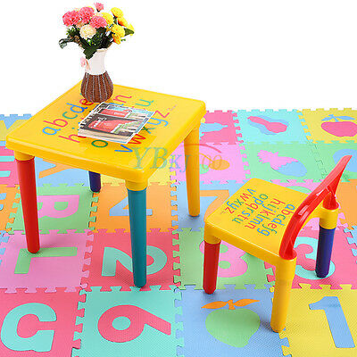 Kids Plastic Table and Chairs Kids Study & Play Table w/ ABC Alphabet AU Seller