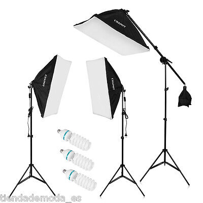 2000W Illuminazione Set Studio Foto Lampada Flash Kit Softbox Stativo + Borsa EU