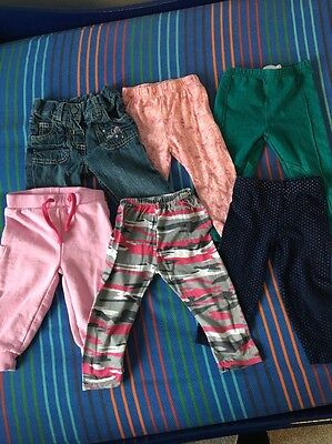 6 X Baby Girls Trousers / Leggings. Size 9-12 Months