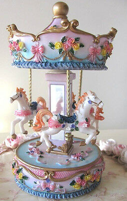 New MUSICAL HORSE CAROUSEL Child Baby Newborn Christening Wind Up Keepsake