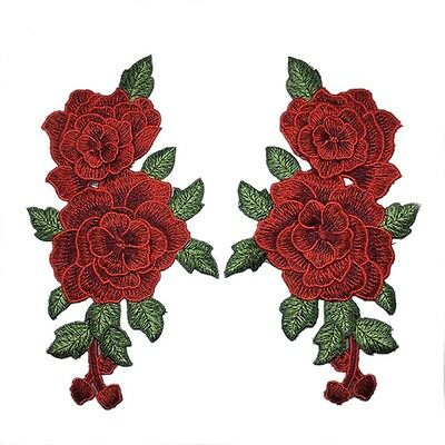 1Par Patches de tela flores Rose Bordado remiendos ropa Applique DIY