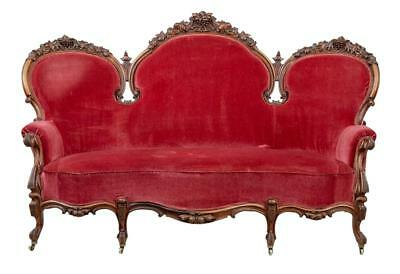 19Th Century Victorian Carved Walnut Sofa