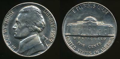United States, 1969-S 5 Cents, Jefferson Nickel - Uncirculated