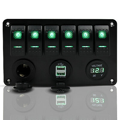 6 Gang LED Rocker Switch Panel Car Marine Boat Breaker Voltmeter USB Charger