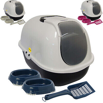 Cat Hooded Large Litter Tray + 2 Non Slip Bowls + Scoop Filter Kitten Bundle