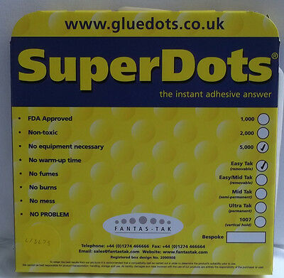 5000 Fantastak SuperDots Glue Dots Easy Tak - Removable