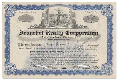 Franchet Realty Corporation Stock Certificate #1 (Statue of Liberty Vignette)