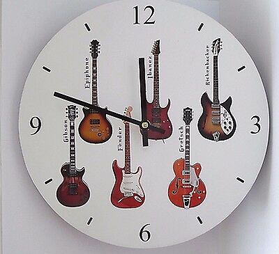 GUITAR WALL CLOCK-White/Round with a 12hr display-Guitar players gift-Boxed-NEW