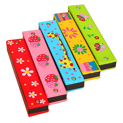 Mini Cartoon Educational Musical Wooden Harmonica Instrument Toy for Kids Gift