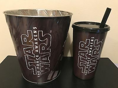 Chewbacca Star Wars The Force Awakens Hoyts Popcorn Tin Bucket with Drink Cup