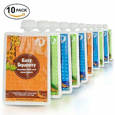 Reusable Food Feeding Pouch BPA Free 170ml Double Zipper Leak Proof 5 Or 10 Pack