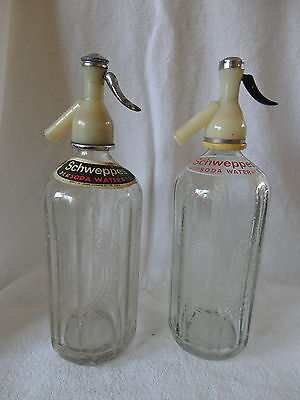 Vintage Schweppes Porcelain lined Soda Syphon Glass Bottle 30 FL OZ London  x2