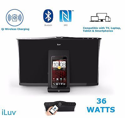 iLuv 36w Bluetooth NFC Speakers Wireless Stereo Docking Station Qi Charger Pad