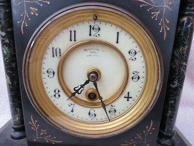 Antique French Black Slate Mantel Clock For Tlc